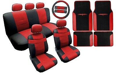 18PC Synthetic Leather Black Red Car Seat Covers Steering Wheel Floor Mats HS1