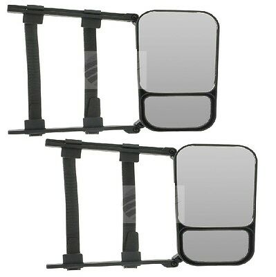Towing Mirror & Convex Clip On For Towing Large Caravan Trailer Boat Twin Pack