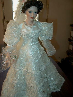 "Catherine VICTORIAN Bride wedding doll 21"" Judy Belle w Stand - The Danbury Mint"