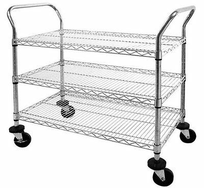 3-Tier Shelf 800 Lb. Capacity Chrome Wire Utility Cart Commercial Residential