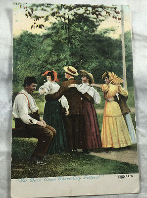 Postcard  1907 1908 Color Woman and Men  Got Darn Them There City Fellers