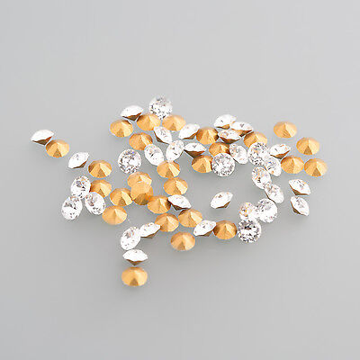 Glass Crystal with Gold foil LOT (100 Pieces) 3,2mm Round / BOX 4 (5)