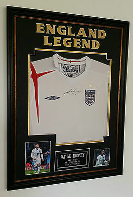 ***  Wayne Rooney of ENGLAND Signed Shirt AUTOGRAPH Display ***