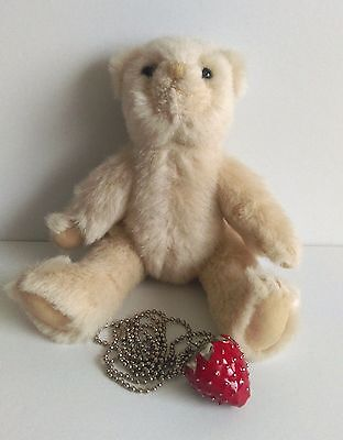 Strawberry Teddy Bears - Bill Bear - jointed, comes with a Strawberry necklace