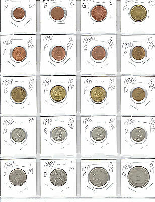 GERMANY Lot of 20 Different Coins - DEUTSCHE