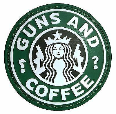Airsoft Guns And Coffee Starbucks Rubber 3D Morale Patch Badge Black Pvc