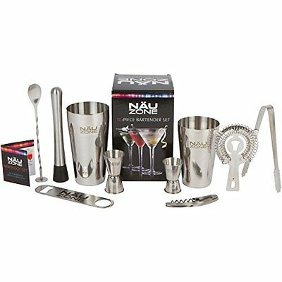 Bar Set: Premium Boston Shaker Barware Set - 10 Piece Bartender Kit Includes Bar