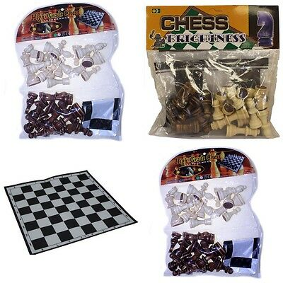 Wooden Chess Set Pieces - Small, Medium (Standard), Or Large + Free PVC Board