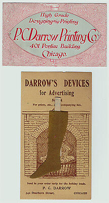 UNUSUAL Advertising Cards- Darrow Printing Chicago 1910 Salseman's Sample Device