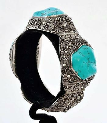 Old Chinese Sterling Silver Filigree Turquoise Carved Carving Bracelet Bangle