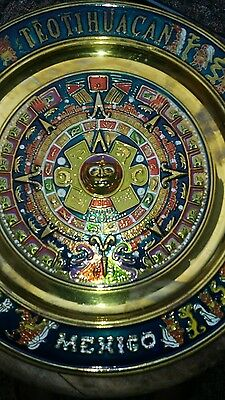 """Vtg Embossed Brass Hanging Decorative Plate Teotihuacan Mexico Aztec Large 11"""""""