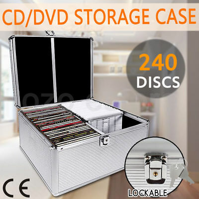 CD DVD Storage Box Aluminium Bluray Lock  Case Lock 240 Discs SL Holds Folder