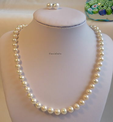 Solid silver genuine 7-8mm circle white freshwater pearls necklace+earring set