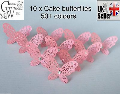 10 x Butterfly wedding cake topper decorations  Vintage filigree design 40+ cols