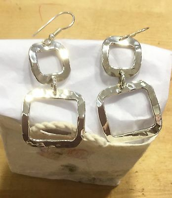 MEXICAN EARRINGS Sterling Silver Plated Alpaca Hammered Handmade Square Style