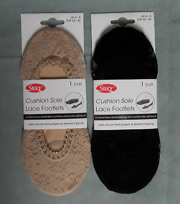 2 pairs Silky lace cushion sole footlets footsie shoe liner  black or natural