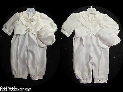 Baby Boys White Or Ivory Christening Romper/outfit/suit With Cap,baptism