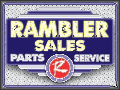 Rambler Dealer Car Sales Parts Service Neon Style Printed Banner Sign Art 4 X 3