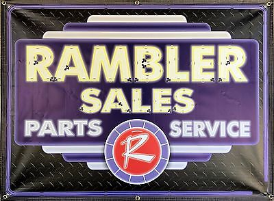 Rambler Dealer Car Sales Parts Service Neon Style Printed Banner Sign Art 4 X 3B
