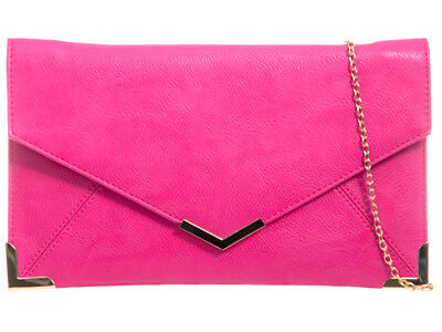 New Fuschia Pink Faux Leather Evening Day Clutch Bag Prom Wedding Party