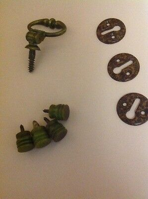 Vintage Door Furniture Keyhole Covers, Knobs, Brass Handle