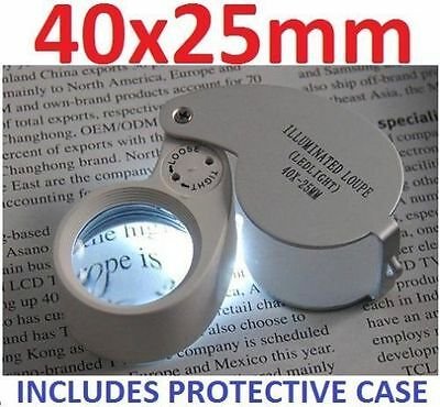 New 40 x 25mm Eye Glass Piece Magnifier Jewellers Loupe Loop CW LED Light JL01