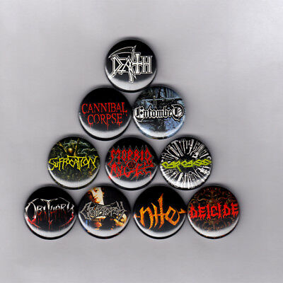 DEATH METAL PINS BUTTONS w/ MORBID ANGEL CARCASS OBITUARY ENTOMBED NILE (patch)