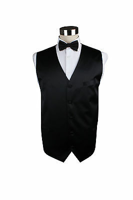 Mens Black Vest Waistcoat + Chest Pocket Wedding Tuxedo Sz S M L Xl 2Xl 3Xl 4Xl