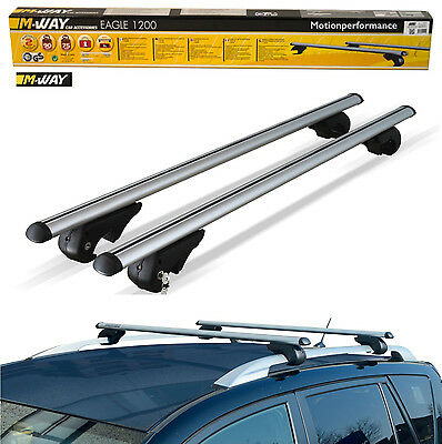 M-Way Aerodynamic Lockable Aluminium Roof Rack Rail Bars for VW Caddy Maxi 08>