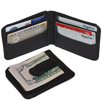 ac1c282a37a5 BLACK LEATHER MENS BIFOLD METAL MONEY CLIP Bifold Wallet ID Badge Holder