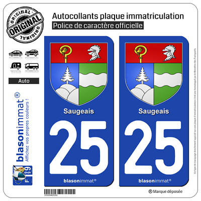 2 Stickers autocollant plaque immatriculation auto : 25 Saugeais - Armoiries