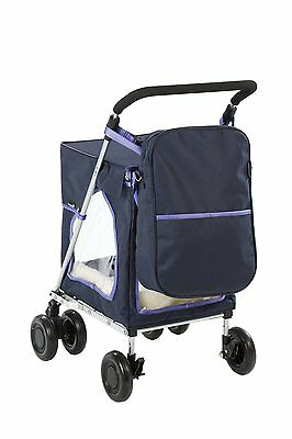 Sholley Petmobil Large in Navy Blue with Matching Bag