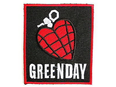 Green Day Heart Grenade Iron Sew On Punk Rock Shirt Bag Applique Badge Patch