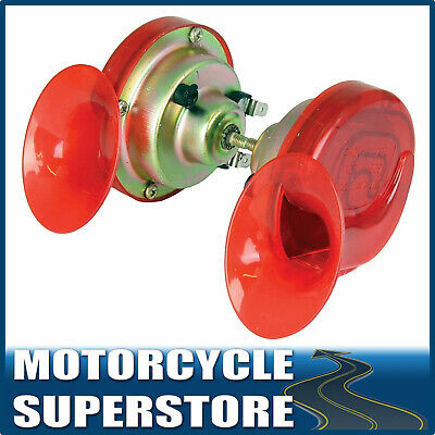 TWINZ 12V MOTORCYCLE MOTORBIKE SNAIL-STYLE PAIR TWIN HORNS 130db HOOTAZ RED