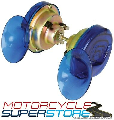 TWINZ 12V MOTORCYCLE MOTORBIKE SNAIL-STYLE PAIR TWIN HORNS 130db HOOTAZ BLUE