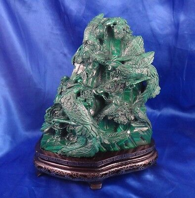 Hand Carved Chinese Malachite Fenghuang Peacock Phoenix Statue With Wood Stand