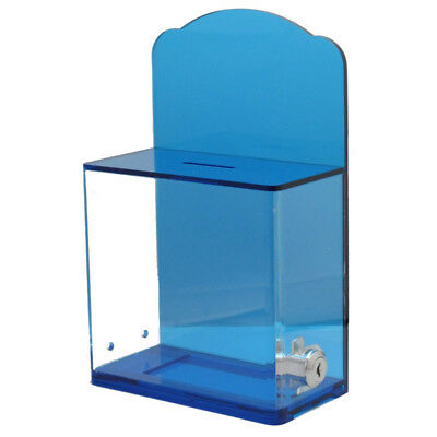 Acrylic Charity Box With Back Wall Curved Display Area with lock & 2 keys 04TB