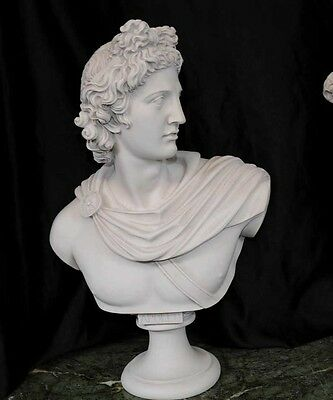 Italian Carved Bust Apollo Faux Marble Interiors