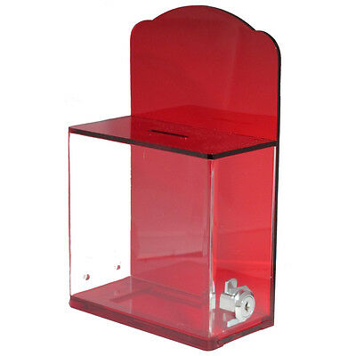 MCB Acrylic Donation Box W/Back Wall Curved Display Area with lock & 2 keys