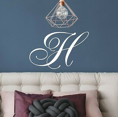 1 x Monogram Single Calligraphy Style Initial Letter Wall Sticker Decal Vinyl