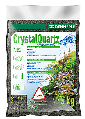 Dennerle Crystal Quartz Gravel Diamond Black 5 kg Inert for Aquarium Fish Tank