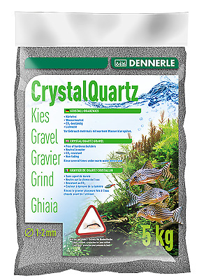 Dennerle Crystal Quartz Gravel Slate Grey 5 kg Inert for Aquarium Fish Tank