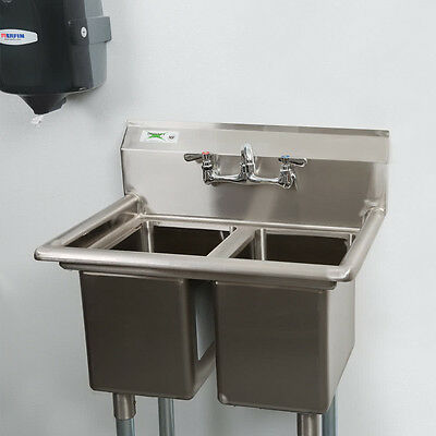 "NEW 27"" 16 Gauge Two Compartment Stainless Steel Commercial Sink w/o Drainboard"