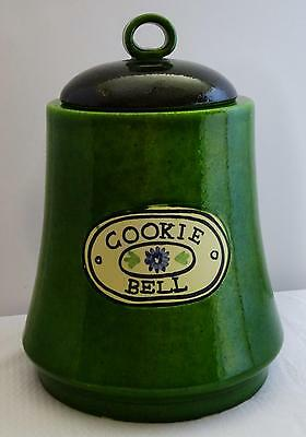 """Vintage Collectible Made in Italy Pottery Green Bell Shaped Cookie Jar Large 10"""""""