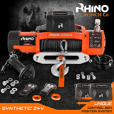 Electric Recovery Winch - 24v 13500lb Synthetic Rope, 4x4 Car Heavy Duty ~ RHINO