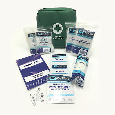 Qualicare Small Travel In Car Bag Pouch Premium Camping Emergency First Aid Kit