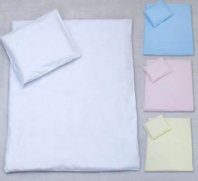 Pillowcase + Duvet Cover 2 Pce Nursery Baby Bedding /For Crib/Pram/Cot Bed Plain
