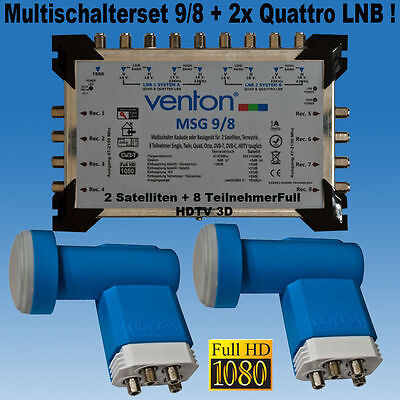 Multischalter Set Sat 9/8 + 2 x Venton Quattro LNB Multiswitch 2 Sat/ 8 Receiver