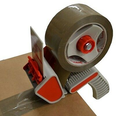 "50mm 2"" Metal-Packing Tape Parce Hand Dispenser Gun+ 2 Brown RollsTape 48x66M"