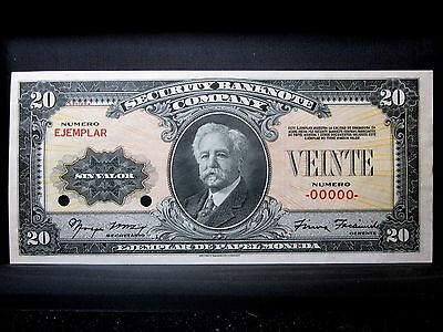 1910-1930 Security Banknote Company ✪ Test Note ✪ Specimen Sbnc-101 ◢Trusted◣